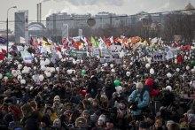 Юлій Хвещук: ''Ганьба етнічному гебісту!'' (Москва, плакат російської опозиції)
