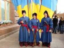 Українські козаки святкували День Незалежності України у козацькому таборі на Хрещатику біля Київської мерії