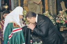Янукович дарит московскому Патриарху Софийский собор